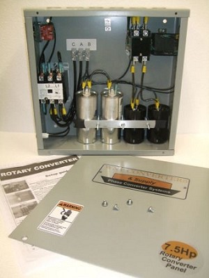 7.5Hp Rotary phase converter control panel 230vac